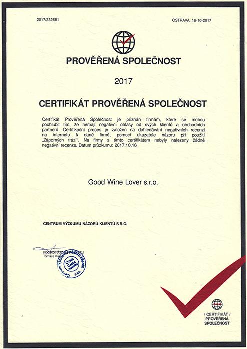Certifikát 2017