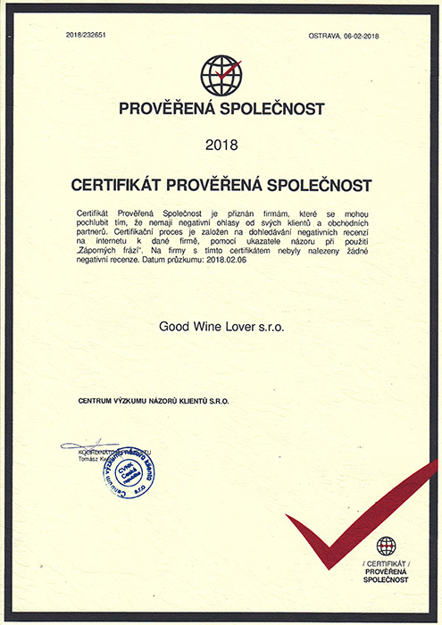 Certifikát 2018