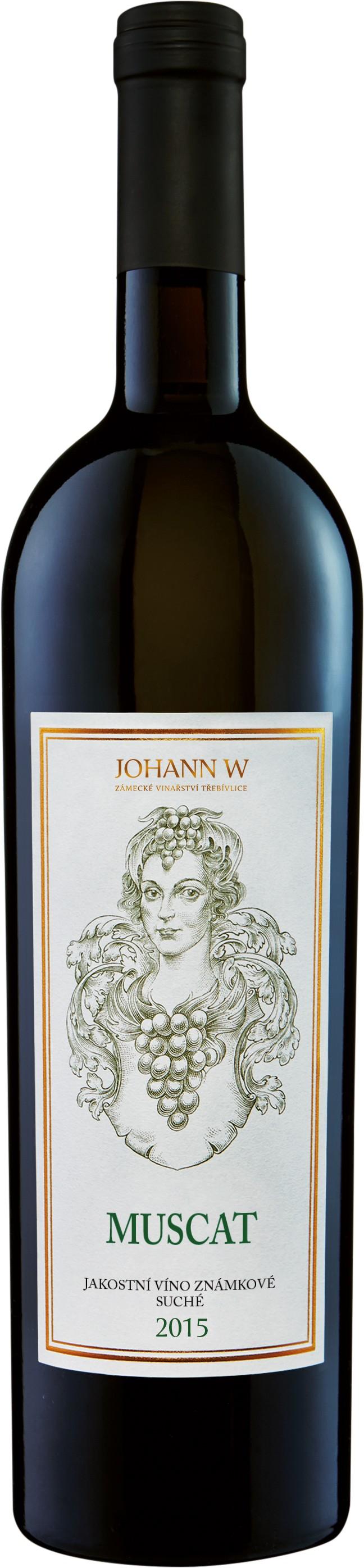 Muscat 2015, jakostní, známkové, suché, Vinařství Johann W - Třebívlice