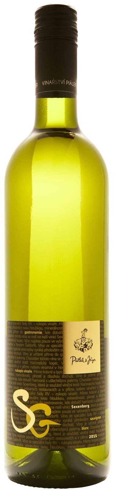 Sauvignon blanc Sexenberg 2017, suché, pozdní sběr, Vinařství Piálek & Jäger
