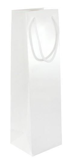 Papírová taška na víno PÁLAVA - bílá, lesk